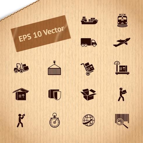 Conjunto de ícones de serviço de transporte logístico vetor
