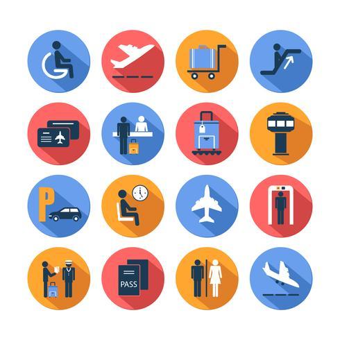 Conjunto de ícones coloridos aeroporto vetor