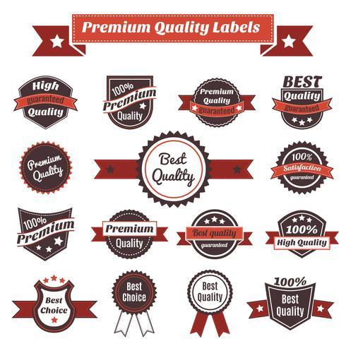 etiquetas de qualidade premium e coleção de crachás vetor