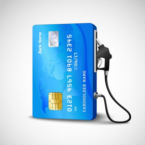 Posto de gasolina com cartão de crédito vetor