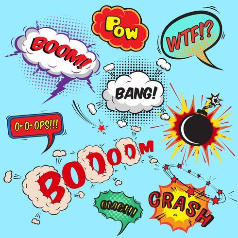 Coleção de elementos de design de bolhas de discurso em quadrinhos vetor