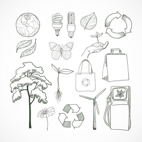 Conjunto de ícones de ecologia e meio ambiente de rabiscos vetor