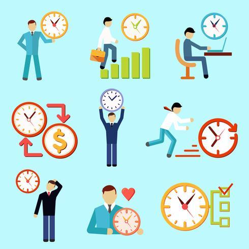 Ícones planas de gerenciamento de tempo vetor