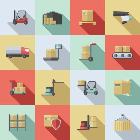 Conjunto de ícones plana de armazém vetor