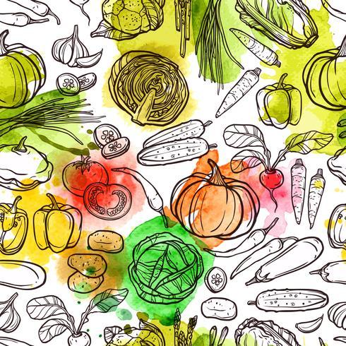 Padrão de vegetais em aquarela vetor