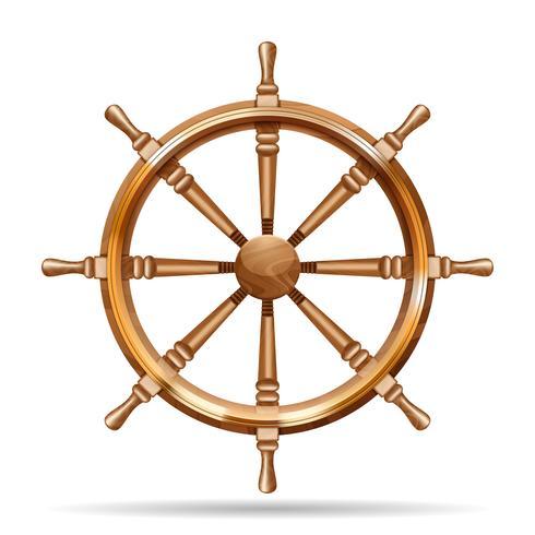 Roda de navio antigo de madeira vetor