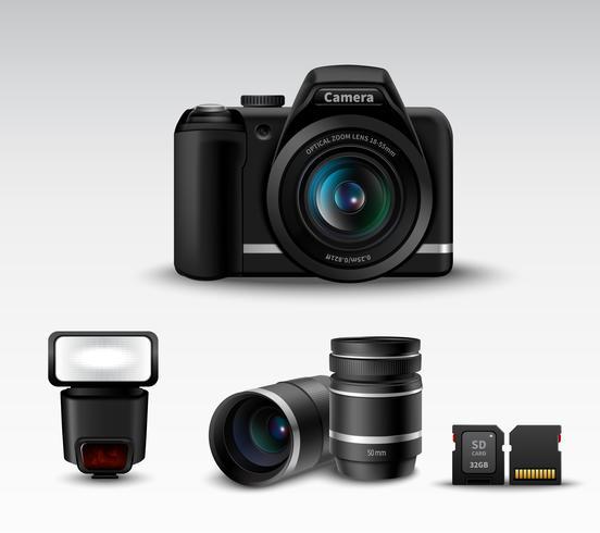 Câmera e acessório vetor