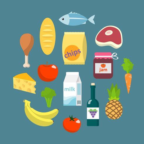 Conceito plano de alimentos de supermercado on-line vetor