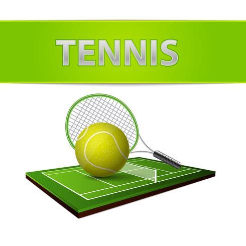 Bola de tênis e emblema de campo de grama verde vetor