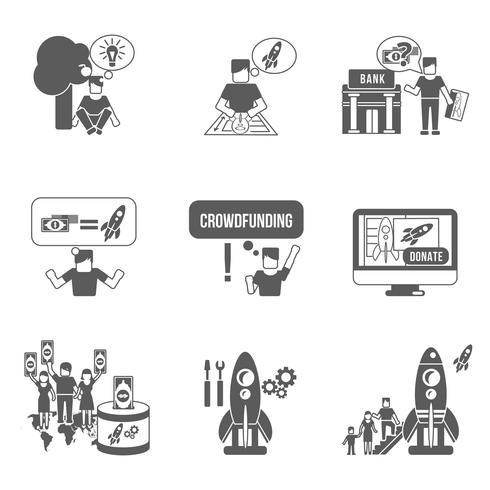 Conjunto de ícones de crowdfunding vetor