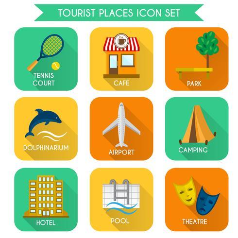 Conjunto de ícones de lugares turísticos vetor