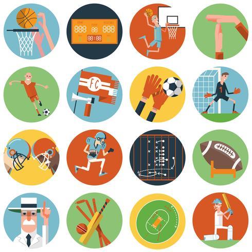 Conjunto de ícones de esporte de equipe plana vetor