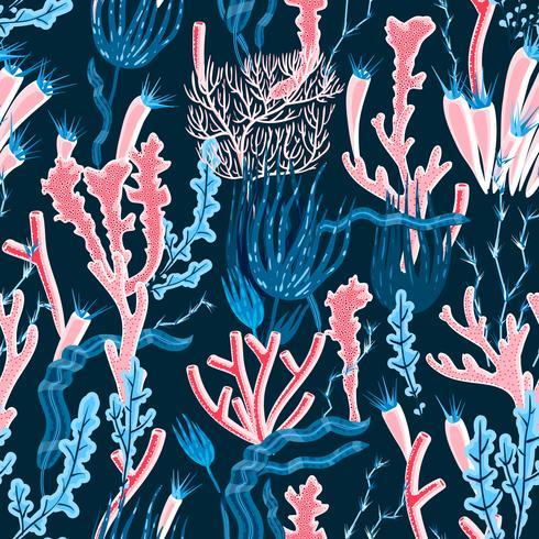 Padrão sem emenda coral vetor
