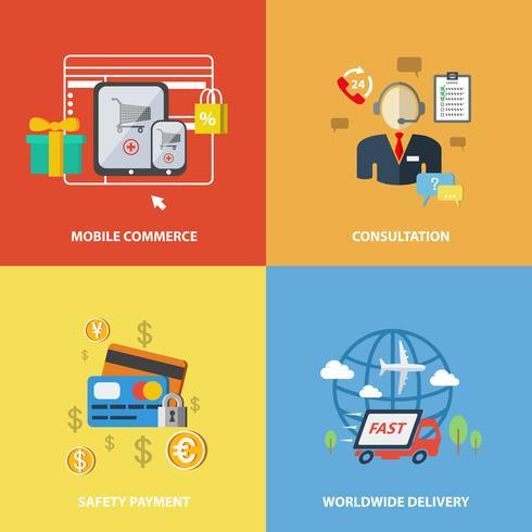 Elementos de comércio eletrônico de compras vetor