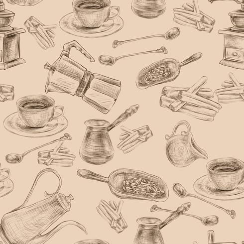 Café Retro conjunto padrão sem emenda vetor