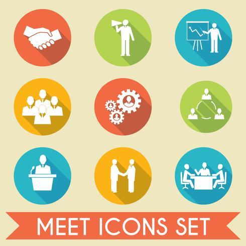 Conheça o conjunto de ícones de parceiros de negócios vetor