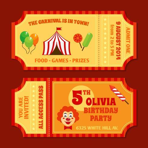 Modelo de ingressos de circo vetor