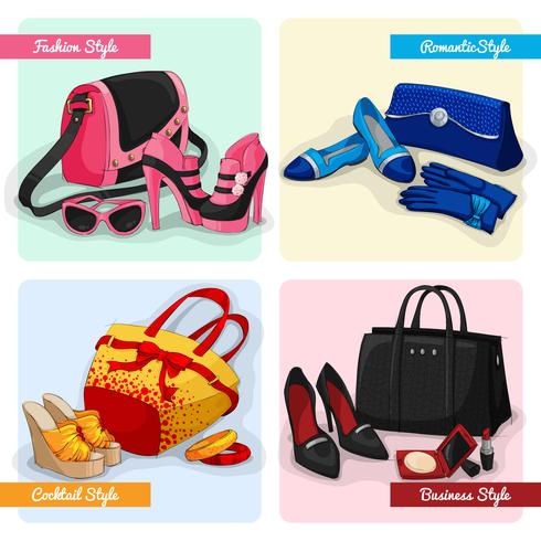 Conjunto de bolsas de mulheres sapatos e acessórios vetor