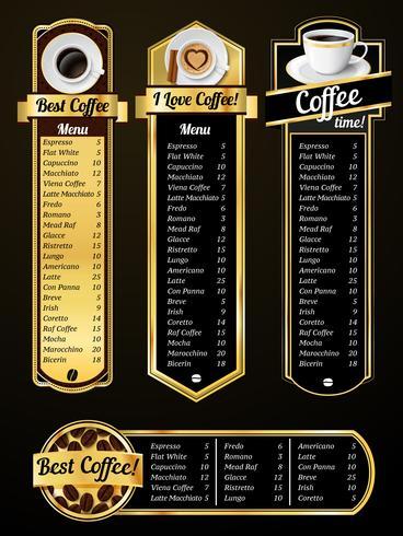 Modelos de menu de café vetor