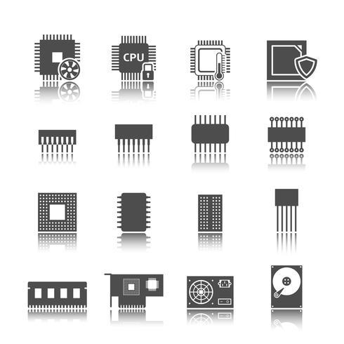 Conjunto de ícones de circuito de computador vetor