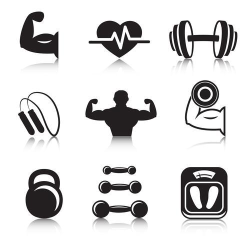 Conjunto de ícones de esporte de fisiculturismo fitness vetor