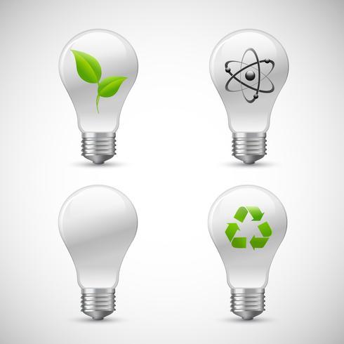Conjunto de ícones de ciência Eco lâmpada vetor