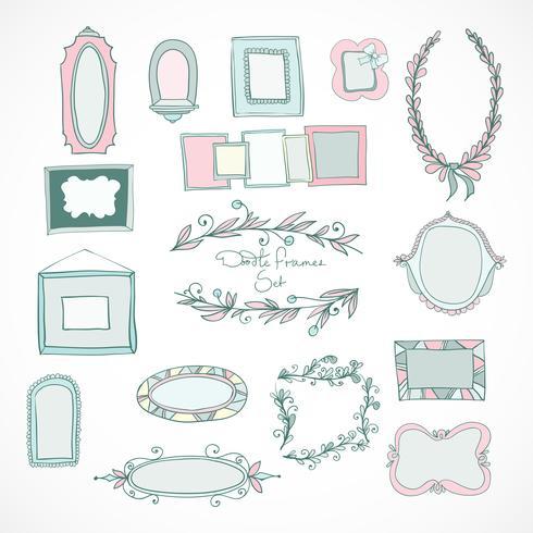 Coleção de quadros de doodle para casamento vetor