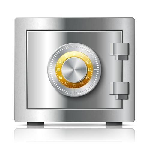 Conceito de segurança de ícone seguro de aço realista vetor