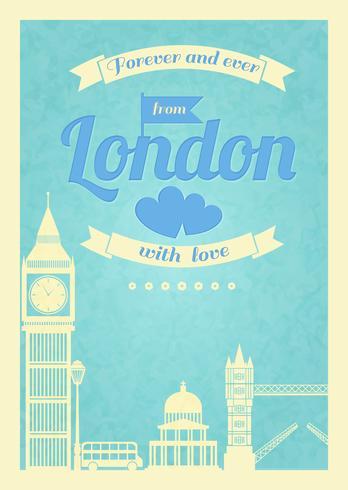 Amo o poster retro vintage de Londres vetor