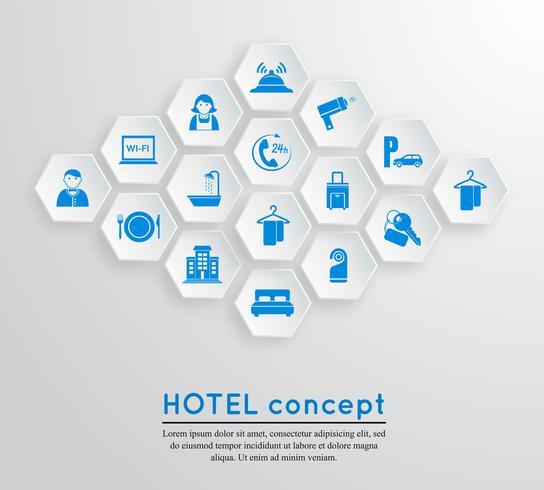 Emblema de alojamento de viagens de hotel vetor