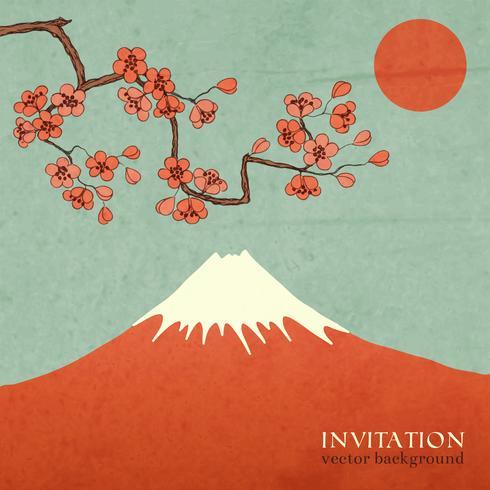 Cartão da cereja da flor ou da montanha de sakura cartão postal vetor