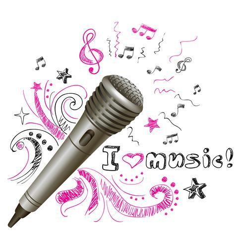 Microfone de música doodle vetor