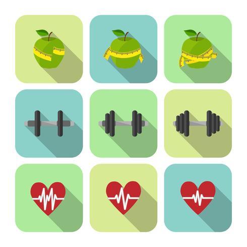 Conjunto de ícones de progresso de exercícios de desporto fitness vetor