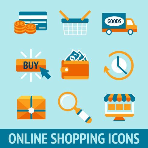 Conjunto de ícones de compras on-line vetor