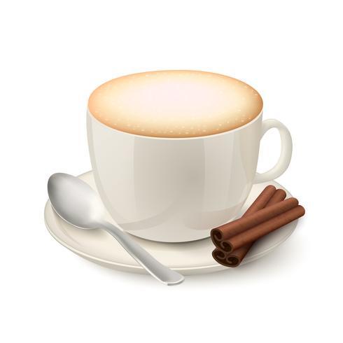 Copo branco realista cheio de cappuccino vetor