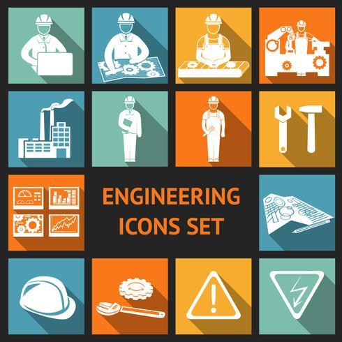 Conjunto de ícones de engenharia plana vetor