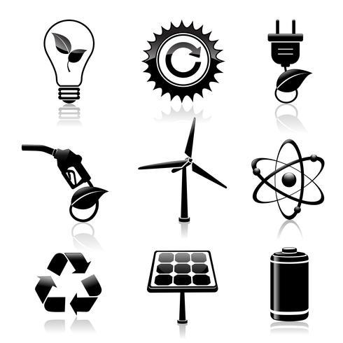 Conjunto de ícones pretos de energia e ecologia vetor