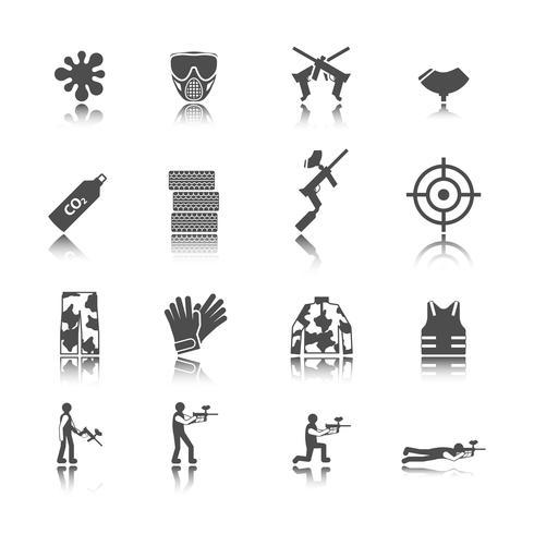 Conjunto de ícones de paintball vetor