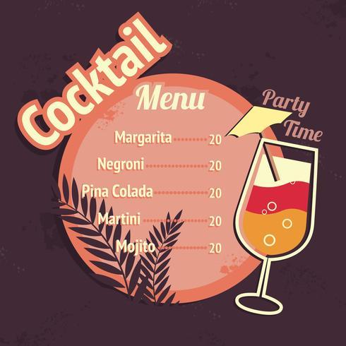 Modelo de cartão de menu de bebida de coquetéis de álcool vetor