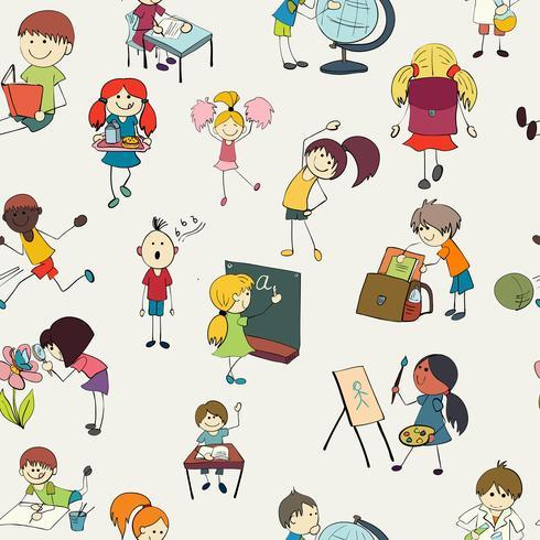 Crianças da escola doodle padrão sem emenda vetor