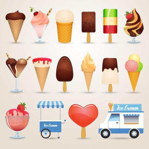 Conjunto de ícones de sorvete dos desenhos animados vetor