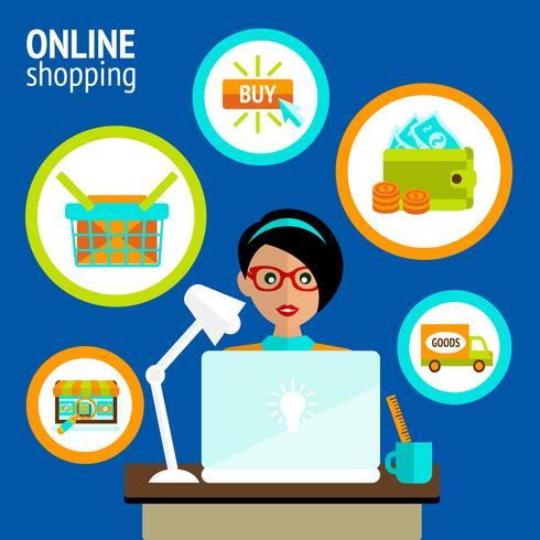 Conceito de compras on-line de laptop de pessoa vetor