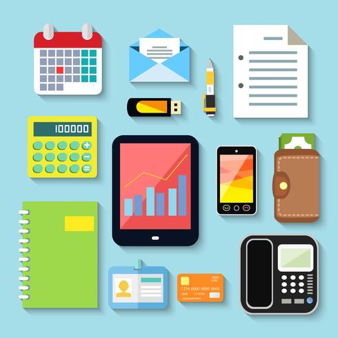 Itens de negócios e dispositivos móveis vetor