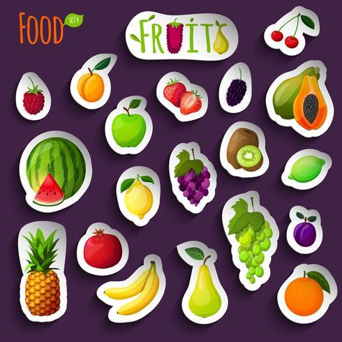 Adesivos de frutas frescas vetor