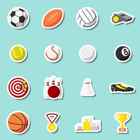 Conjunto de adesivos esportivos vetor