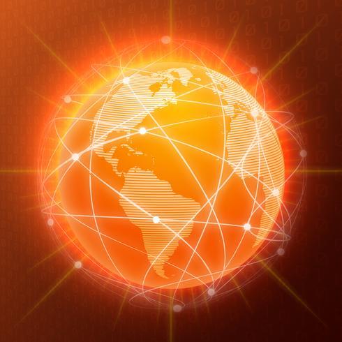 Rede globo conceito laranja vetor