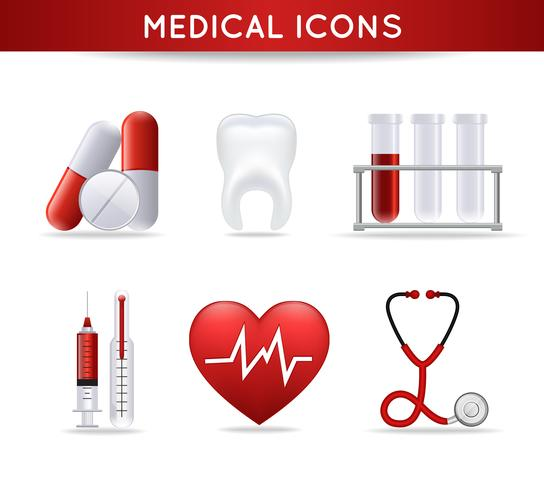 Conjunto de ícones médicos de cuidados de saúde vetor