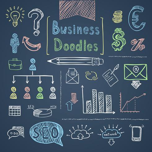 Doodle conjunto de negócios vetor