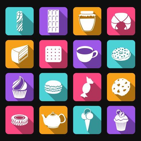 Conjunto de ícones plana de doces vetor