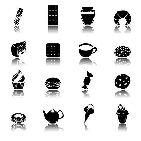 Conjunto de ícones pretos de doces vetor